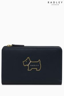 Radley Ink Navy Heritage Dog Outline Medium Ziptop Purse