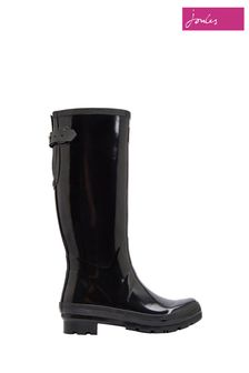 Joules Black Gloss Field Wellies With Adjustable Back Gusset