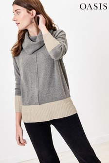 Oasis Natural Colourblock Carla Roll Neck