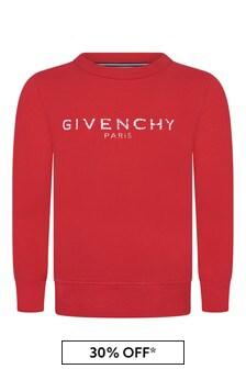 Boys Red Fleece Logo Sweater