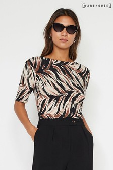 Warehouse Animal Abstract Tiger Scoop Back Top