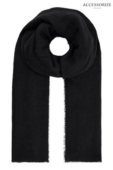 Accessorize Black Wells Supersoft Blanket