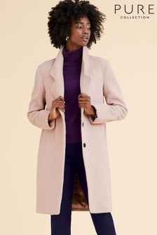 Pure Collection Pink Revere Collar Coat