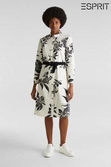 Esprit Natural Flower Print Long Sleeve Cotton Dress