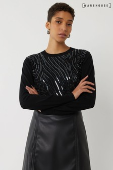 Warehouse Black Striped Sequin Front Jumper