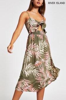 River Island Khaki Print Bandeau Tie Front Midi Dress