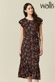 Wallis Black Floral Print Jersey Midi Dress