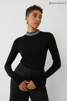 Warehouse Black Embellished High Neck Jumper