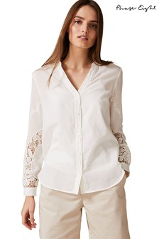 Phase Eight White Tina Broidery Shirt