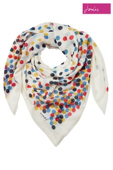 Joules Cream Atmore Printed Square Scarf