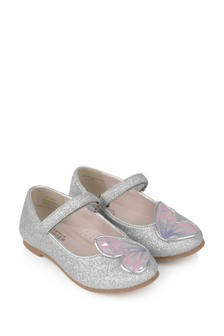 Girls Silver & Pastel Butterfly Shoes