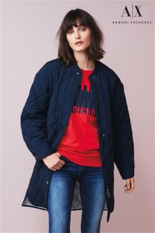 Armani Exchange Navy Quilted Coat