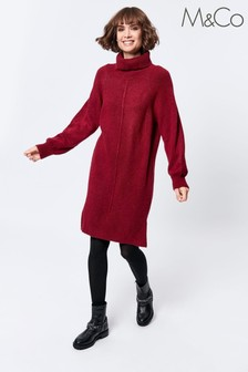 M&Co Red Knitted Roll Neck Dress