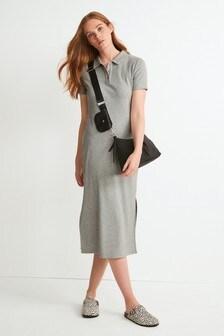 Rib Polo Midi Dress