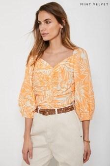 Mint Velvet Orange Rachel Palm Print Linen Blend Top