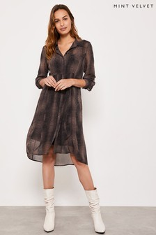 Mint Velvet Crocodile Print Cocoon Dress