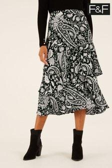F&F Black Paisley Asymmetric Wrap Skirt