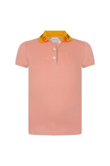 Girls Pink Piquet Polo Top