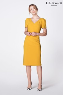 L.K.Bennett Yellow Rebecca Fitted Dress