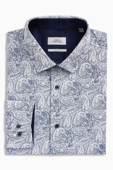 White/Blue                     Paisley Print Slim Fit Shirt