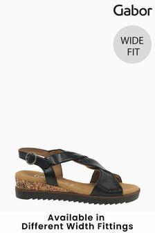 Gabor Rich Black Leather Sandals