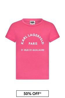 Karl Lagerfeld Girls Pink Cotton T-Shirt