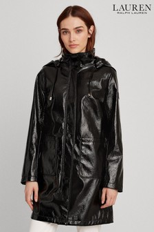 Lauren Ralph Lauren Black Showerproof PU Shine Jacket