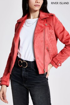 River Island Pink Medium Lola Quilted Suedette Biker Jacket