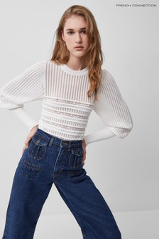 French Connection White Orielle Knitted Puff Sleeve Top