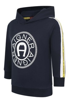 Boys Navy Cotton Hooded Sweater