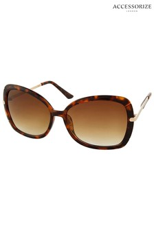 Accessorize Brown Sophie Metal Detail Square Sunglasses
