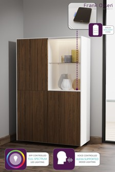 Frank Olsen Smart LED White and Walnut Display Cabinet