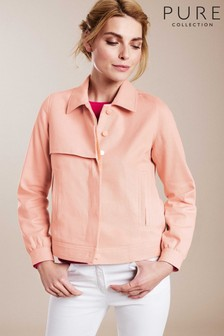 Pure Collection Pink Collared Twill Jacket