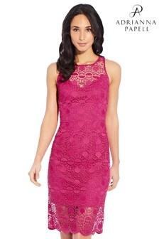 Adrianna Papell Pink Sunrise Lace Illusion Sheath Dress