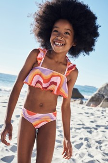 Textured Wave Print Bikini (3-16yrs)