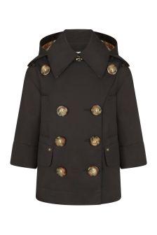 Burberry Kids Girls Black Cotton Trench Coat