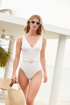 Belted Plunge Swimsuit