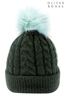 Oliver Bonas Cable Knit & Pom Green Beanie Hat