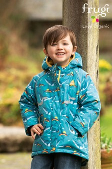 Frugi Blue 100% Recycled Waterproof Winter Coat