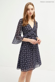 French Connection Blue Agata Georgette V-Neck Dress