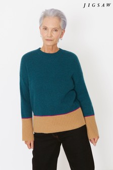 Jigsaw Blue Cashmere Colourblock Jumper