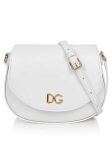 Girls White Leather Shoulder Bag