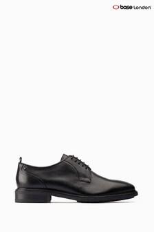 Base London® Black Boston Lace-Up Plain Toe Derby Shoes