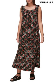 Whistles Colourblock Print Frill Sleeve Midi Dress