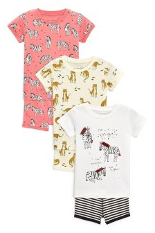 Animal Character Short Pyjamas With Glitter And Embroidery Detail Three Pack (9mths-8yrs)