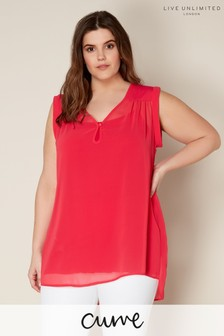 Live Unlimited Pink Chiffon Top With Satin Detail