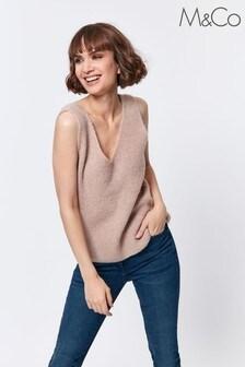 M&Co Natural Cable Knit Vest