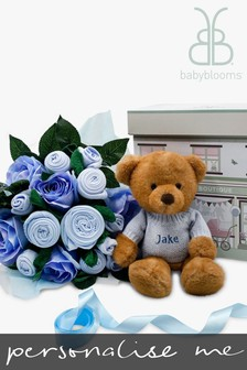 Babyblooms Luxury Blue Bouquet and Personalised Charlie Bear Soft Toy Baby Gift