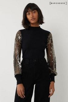 Warehouse Black Sequin Sleeve Jumper