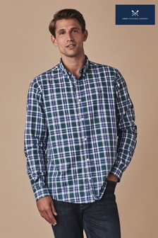 Crew Clothing Blue Long Sleeve Classic Plaid Check Shirt